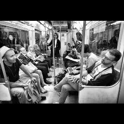 underground metro people blackandwhite monochrome