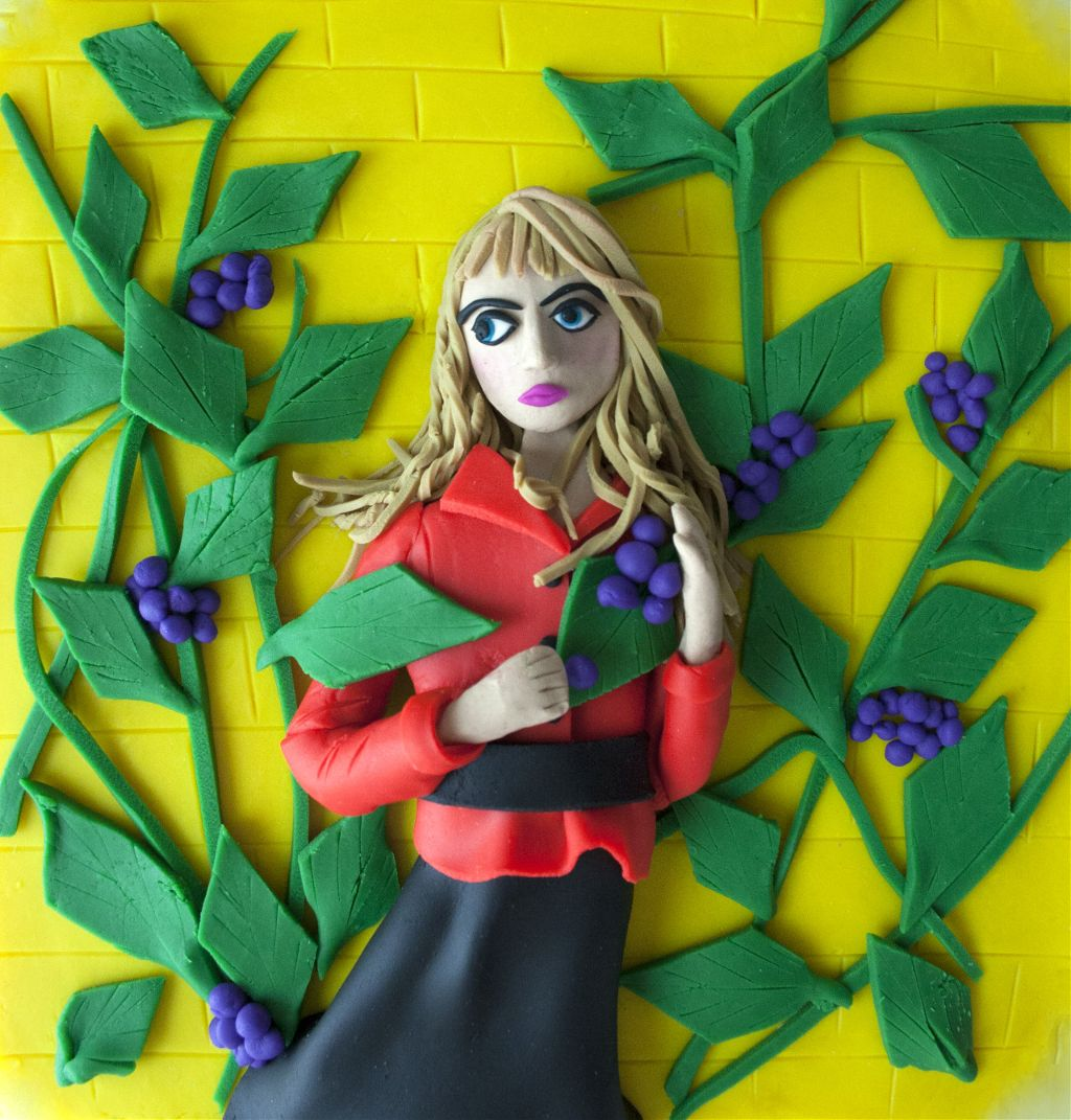 young lady in play doh
