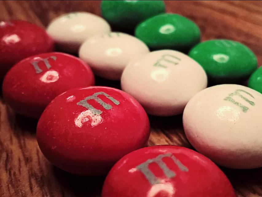 Festive treats. Mint M&Ms - my favorite! #freetoedit #photography #treats #candy #Christmas #macro #red #green #white