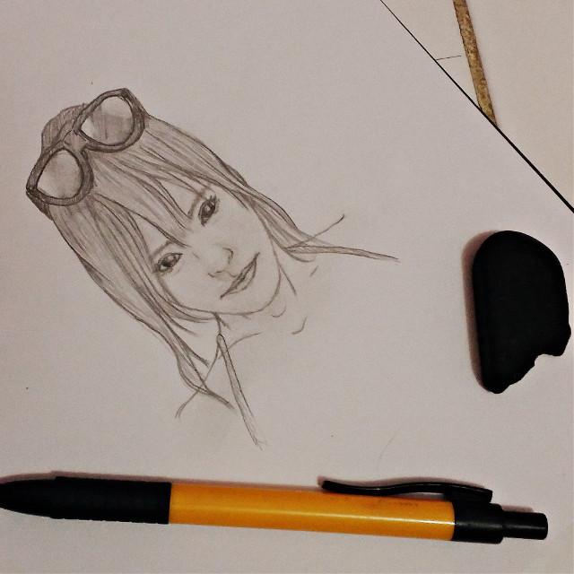 sketching...#girl #cute   #colorful  #blackandwhite