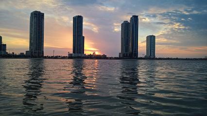 water reflection sunset sky beautiful