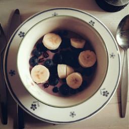 breakfast yummy banana blueberry pomegranate