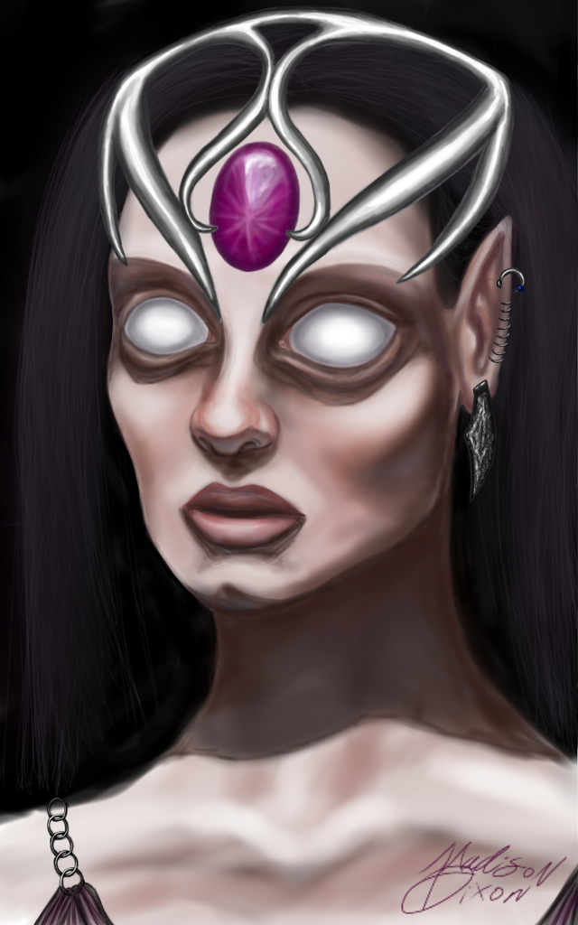 #emotions   #fantasy   #aliens   #digitalart  #art  #drawing #people  #magical  #eyes An alien  prophetess  she only sees through her minds eye 👀🔮👽❤